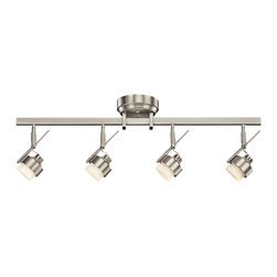 Kichler 4-Light LED Rail Light - Brushed Nickel - Four Light LED Rail Light Create drama and light throughout your space with this versatile, energy efficient design pro LED 4 light rail light in brushed nickel with satin-etched glass. This high-tech light accommodate installation on the wall or ceiling and is fully dimmable with most standard electric low-voltage dimmer switches. 42. 5 inch length. Width 5 inches. Height 9 inches.