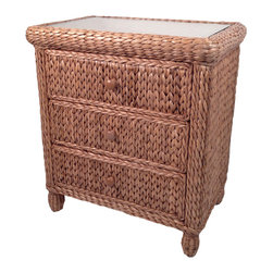 Wicker Paradise - Seagrass 3 Drawer Dresser - Miramar Collection - This stable 3 drawer dresser is built on a solid wood frame and is an ideal addition to your bedroom collection.  Acquire a serene, tranquil environment with this ultimate hand woven piece.