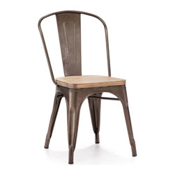 Design Lab MN - Dreux Steel Stackable Rustic Matte + Light Elm Wood Seat Side Chair, Set of 4 - The Dreux steel stackable side chair is a fantastic designed chair to add to any restaurant, bistro or coffee house. This chair is produced in rolled steel which can withstand any high traffic area. It also can be stacked to save space if needed. Produced by Design Lab MN, this product is manufacturer to highest standards in the furniture industry.