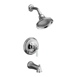 KOHLER - KOHLER Bancroft Rite-Temp Pressure Balancing Bath and Shower Faucet Trim - KOHLER K-T10582-4P-CP Bancroft Rite-Temp Pressure Balancing Bath and Shower Faucet Trim with Slip-fit Spout and White Ceramic Lever Handle, Valve Not Included in Polished Chrome