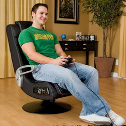 Ace Bayou 4.1 Pro Series X-Rocker Pedestal Wireless Game Chair - The 4.1 Pro Series X-Rocker Pedestal Wireless Game Chair is the perfect choice for hardcore gamers with a sleek futuristic design. Mounted on a sturdy chrome pedestal base it seamlessly connects to a variety of popular media devices including iPods PS3 Wii Xbox360 PSP DVD players and more. This unique full-bodied sound system chair offers your complete media immersion and has been carefully designed to amplify sound improve sound quality and enhance your experience. The 4.1 sound system includes four built-in speakers and a subwoofer for a multi-sensory experience. Two speakers are hidden in the headrest and the other two are hidden behind the perforated vinyl in the sides of the seat. Additional features are audio tilt swivel and vibration. The combination of wireless capabilities and Ace Bayou's core AFM technology actually doubles the power of this remarkable chair. What's AFM technology you ask? It's a vibration connected to the audio experience that transfers the rumbling of an adjustable subwoofer into the back of the chair. We're talking amped-up full-sensory rock-out experience whether you're listening to music watching a movie or playing your favorite game. Believe us you'll feel it. Crafted from sleek black vinyl over a durable wood and metal frame this fire-retardant foam-filled chair is both stylish and comfortable with silver finish flip-up arms. This state-of-the-art sound furniture measures 30 inches long by 23 inches wide and stands 40.25 inches tall. It comes to you assembled in a brown box. About Ace Bayou CorporationAce Bayou Corporation was founded in 1986 and has grown into a group of diverse lifestyle-focused divisions. They all feature innovative quality products at prices that allow everyone to enjoy the benefits. Their lifestyle furniture division features youth and adult casual furniture including unique bean bags video rockers recliners and special seating products. As a recognized innovator in these categories Ace Bayou provides products that fit your lifestyle.