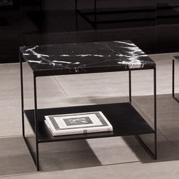 Minotti - Minotti Calder Marble Coffee Table - The Calder collection is defined by a thin base, clear-cut geometry and poetic simplicity.  The marble top Calder collection includes 3 different sized square tables and a rectangular table.  The table frame is solid iron.  All four tables are available with an epoxy powder painted matt black finished frame and a black Marquina marble top, 18mm thick and brightly polished.  The two smaller square tables are also available with a white polished Afyon marble top, 18 mm thick, a solid iron frame and a ground sheet metal lower top.  Calder collection also includes wood top tables.  Price includes delivery to the USA.  Manufactured by Minotti.