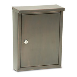 The Laguna - The Laguna mailbox is constructed of galvanized steel and hand finished in an antique copper , dark copper or antique pewter finish making no two alike. The incoming slot is perfect for residents receiving larger items, such as magazines and bank check boxes. The storage compartment is wide and deep and is protected by a durable stainless steel cam lock with dust shutter. To find a dealer near you please visit: http://www.architecturalmailboxes.com/where-to-buy/default.aspx