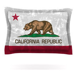 "Kess InHouse - Bruce Stanfield ""California Flag"" Gray Red Pillow Sham (Cotton, 30"" x 20"") - Pairing your already chic duvet cover with playful pillow shams is the perfect way to tie your bedroom together. There are endless possibilities to feed your artistic palette with these imaginative pillow shams. It will looks so elegant you won't want ruin the masterpiece you have created when you go to bed. Not only are these pillow shams nice to look at they are also made from a high quality cotton blend. They are so soft that they will elevate your sleep up to level that is beyond Cloud 9. We always print our goods with the highest quality printing process in order to maintain the integrity of the art that you are adeptly displaying. This means that you won't have to worry about your art fading or your sham loosing it's freshness."