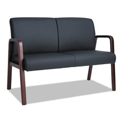 "Alera - Alera Reception Lounge Series Wood Loveseat, 44 7/8""x26""x33 1/4"" - An economical choice for reception seating. Mahogany wood frame with soft leather upholstery. Supports up to 500 lbs."