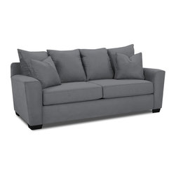 Klaussner - Upholstered Sofa in Charcoal - The contemporary and casual elements of the Heather Collection offers stylish flare with track arms that have shape and welted details. Pillows are surrounded in welt and provide comfort with support. Clean lines combined with curves makes the Heather fitting for any room.