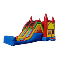 Kidwise - Kidwise Double Lane Jump & Inflatable Slide - KE-CO2110 - Shop for Tents and Playhouses from Hayneedle.com! Make the Kidwise Double Lane Jump and Slide the headquarters of fun at any gathering. This exciting commercial grade inflatable is perfect for a variety of events including birthday parties church functions fairs festivals or block parties. It features a large bounce area dual slides internal ladder and is made of durable 18-ounce colorful PVC vinyl. It also comes complete with blower repair kit stakes tarp and even a blank banner for advertising.About Kidwise ProductsThis item is made by Kidwise Outdoors a company whose focus is safe fun excitement for kids. Kidwise strives to promote safe play for kids of all ages through outside activities. Their line of products includes swing sets trampolines inflatable bouncers bikes sport goals and many other items to choose from. Kidwise guarantees all of their products against defects. Like Hayneedle their goal is 100% satisfaction from customers. Their product lines focus on kid-friendly items that are fun to play with and stimulate balance and a healthy lifestyle for kids.