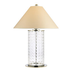 Hudson Valley - Hudson Valley L534-PN 1 Light Small Table Lamp WitShelby Collection - Lively and effervescent, Shelby's modish array of hand-cut concave circles showcases the glamour of mid-century design.  The crystal-clear glass column is capped by a sharply sloped shade, giving an Eastern contrast to the glass body's youthful exuberance