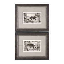 Uttermost - Grace Feyock Big Cats I, II Wall Art, Set of 2 - Prints are surrounded by sand colored, woven, fabric mats. The outer frames have a burl veneer with medium wood tone finish and gray wash. The inner frames are silver leaf with brown and black wash and heavy gray glaze. Prints are under glass.