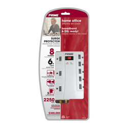 Prime Wire - Prime Wire 8-Outlet (5+3) 2250J w/ RJ11, Coax & 6-ft Cord - 8-Outlet (5+3) 2250J w/ RJ11, Coax & 6ft. Cord