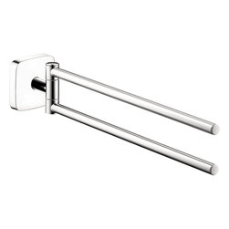 Hansgrohe - Hansgrohe 41512000 Puravida Twin Bar Towel Holder in Chrome - Twin Bar Towel Holder in Chrome belongs to Puravida Collection by Hansgrohe The accessories within the PuraVida collection exude simple pure lines.  This collection admits to a clean reflection of chrome to create harmony and add a greater sense of openness in every bathroom.  While the twin towel bar was created for sturdy function its innovative styling is transparent.  Towel Bar (1)