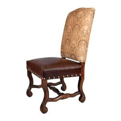 EuroLux Home - New Pair Dining Chairs Brown Leather Wood - Product Details