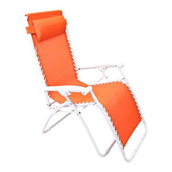 "Lamps Plus - Contemporary Zero Gravity Orange Outdoor Chaise Lounge - Zero Gravity Orange Outdoor Chaise Lounge Orange adjustable outdoor chaise lounge chair. PVC mesh fabric on metal frame. Folds easily for storage. Great for a day at the beach or napping in the yard or by the pool. Fully assembled. 65"" deep. 25 1/2"" wide. 44 1/2"" high.  Orange adjustable outdoor chaise lounge chair.  PVC mesh fabric on metal frame.  Folds easily for storage.  Great for a day at the beach or napping in the yard or by the pool.  Fully assembled.  65"" deep.  25 1/2"" wide.  44 1/2"" high."