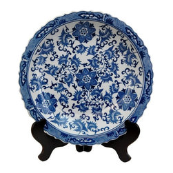 "Oriental Furniture - 14"" Floral Blue and White Porcelain Plate - Chinese export style decorative plate with classic vine and flower pattern and an antiqued ice crackle glaze. Display on a breakfront or a buffet, singly or in pairs, or mount on the wall in the dining room or kitchen. Ming blue and white porcelain compliments traditional American interiors as well as modern, eclectic decor."