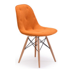 ZUO MODERN - Probability Chair Orange Velour - A hip take on a modern classic, the Probablity Chair has soft tufted with buttons velour seat and a wire steel frame with solid wood legs
