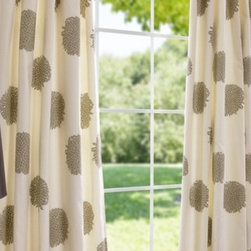 Chrysanthemum Printed Cotton Curtains And Drapes - Chrysanthemums anyone? What a fun, quirky take on a polka dot. These are fresh and fun, and add a great neutral pop to a space. I would love to see these in a dining room or living room.