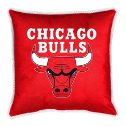 Sports Coverage - NBA Chicago Bulls Sidelines Toss Pillow - Make that new officially licensed NBA Chicago Bulls Sidelines Toss Pillow look as good as it feels. A must have for any true fan. A New Design - Same great quality!! Coordinating Toss pillow to match jersey material logo Comforter. Pillow is 17 x 17, 100% Polyester Cover and Fill. SIDELINES is trimmed in teams secondary color. 100% Polyester Jersey. Spot Clean only.