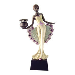 TLT - 12.25 Inch Hand Painted Peacock Lady Candle Holder Statue, Right Hand - This gorgeous 12.25 Inch Hand Painted Peacock Lady Candle Holder Statue, Right Hand has the finest details and highest quality you will find anywhere! 12.25 Inch Hand Painted Peacock Lady Candle Holder Statue, Right Hand is truly remarkable.