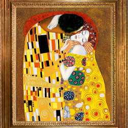 """overstockArt.com - Klimt - The Kiss Oil Painting Oil Painting - 20"""" x 24"""" Oil Painting On Canvas Hand painted art reproduction of a famous Klimt painting , The Kiss. The original masterpiece was created in 1907-08. Today it has been carefully recreated detail-by-detail, color-by-color to near perfection. Gustav Klimt, the Vienna master painted the Kiss oil painting in 1907. The painting depicts a couple surrounded by a gold blanket and ornaments sharing a moment of sheer passion - the perfect kiss. In the oil and gold masterpiece, the man appears standing as he holds in his arms the kneeling woman. The two seem to be positioned on a flower field, kissing, totally engaged with one another. The woman seems to be following the lead of her partner, but is not taking an active part. The patterns of the man are mostly black and white rectangles, while the woman is engulfed in flowers. The identity of the people depicted in this oil painting is not exactly clear; some suggest that it is Klimt himself and his beloved partner, Emilie Floge. However, that is sheer speculation as Klimt made it a point never to paint himself. Gustav Klimt (1862-1918) was one of the most innovative and controversial artists of the early twentieth century. Influenced by European avant-garde movements represented in the annual Secession exhibitions, Klimt's mature style combines richly decorative surface patterning with complex symbolism and allegory, often with overtly erotic content. This work of art has the same emotions and beauty as the original. Why not grace your home with this reproduced masterpiece? It is sure to bring many admirers!"""