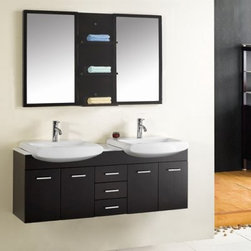 "Virtu USA Ophelia 59-in. Wall Mount Espresso Double Bathroom Vanity Set UM-3059 - The Virtu Ophelia Double Sink Wall Mount Espresso Vanity with Mirror creates the ultimate master bath in one easy installation. This contemporary-style set includes everything you need to create a luxurious vanity area complete with countertop base cabinet wall mirror with storage and two sinks with faucets and drains. Don't waste your time picking out separate fixtures... everything is here and designed to create a cohesive look in one easy package.This high-quality set is meant for everyday use with durable construction and moisture-resistant finishing. The base cabinet is constructed from rubberwood using a sturdy framing technique then finished with two coats and a clear-coat. This helps seal out water and humidity meaning the wood won't crack or warp even in the high-moisture environment of the bathroom. The cabinet contains three spacious drawers and four cabinets with doors for storage of necessities.Two unique bowl-style sinks with sloped edges sit above the countertop for a luxurious look. The basins are extra-deep and each is fitted with an elegant vertical faucet with pop-up back-mounted drain system made from solid brass and finished in bright chrome. Finally the set also includes a mirrored wall cabinet with shelving in the center and convenient """"his and hers"""" mirrors on either side. All required installation hardware is included.Detailed Dimensions:Main cabinet: 59.1W x 14.2D x 19.7H inchesShelf: 13.8W x 5.9D x 33.5H inchesSink basin (each): 24.4W x 19.3D x 7.1H inchesMirror wall cabinet: 33.5W x 1.2D x 19.7H inches"
