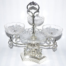 Threestar - Threestar Clear Crystal/Silvertone 4-sectioned Serving Centerpiece - Add an elegant touch to any dining table or buffet with this oval serving bowl. The serving piece has four crystal bowls and a silvertone base and handle.