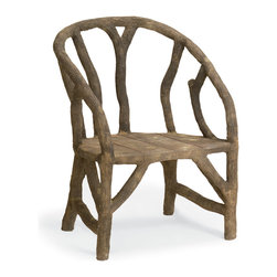 Currey & Co - Currey & Co 2701 Arbor Faux Bois Chair - A classic piece to complement any home, the Currey & Co 2701 Arbor Faux Bois Chair combines a rugged, natural look with a classic, antique finish. Made from reinforced steel and concrete, this chair makes an excellent accent piece for either an outdoor or indoor setting. Pair it with the matching bench or armchair for a complete look. With clean lines and a natural look, this chair is a beautiful conversation piece.