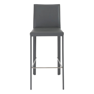 Euro Style - Hasina Bar Stool (Set Of 2) - Gray/Stainless Steel - Every surface is leather. In black, gray or white, the legs, back and seat provide the special feel and lasting elegance of leather. The profile of this chair is particularly lovely the way the back curves back gently for added comfort.