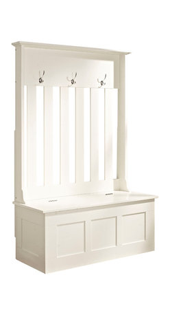 Crosley - Ogden Entryway Hall Tree, White - Clean up your busy entryway with the Ogden entryway storage bench. This bench features hooks for hanging jackets and backpacks along with storage for shoes, scarves, mittens and hats.