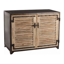 Arteriors - Paris Shutter Cabinet - Designer Lisa Luby Ryan buys every shutter she can find when traveling overseas so she can make cabinets like this for her clients and her store. These solid wood doors and natural iron sides, top and back are finished to look like the originals.