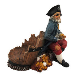 Shipwrecked Pirate Wine/Rum Bottle Holder Decor POTC - This awesome shipwrecked pirate captain bottle holder figurine is great for holding wine bottles, rum or other liquor bottles, or for holding olive oil as part of your kitchen decor. Made of cold cast resin, the holder stands 6 inches tall, is 4 3/4 inches deep, and 7 inches wide. It makes a great gift for any pirate lover. Sorry, the wine bottle in the picture is not included.
