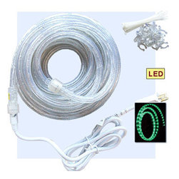 """Inviting Home - 30 feet flexible LED rope lights kit - Green - LED rope lights kit includes: - 30' roll in 1/2"""" diameter - 1 power cord; - 1 end cap - 20 tie straps; - 20 mounting clips color - Green flexible LED rope lights for installation with molding and ceiling domes 30 LED lighting kit includes: 30 log LED rope lights 1 x 6 long power cord 1 end cap 20 mounting clips and 20 plastic ties. Note: This product is factory sealed and UL approved. It is not meant to be cut and therefore extra power cords and end caps are not included. LED Rope lights Product Highlights: - Clear 1/2"""" PVC tubing with colored LED bulbs for brighter output. - UL rating for indoor and outdoor use*. - Horizontal bulb insertion for more evenly spaced light. - Bulb spacing 1 inch. - UV stabilized PVC tubing for longer life. - Approximate bulb life 40000 hours (without degrading). - Available in 5 different colors including: clear (white) blue green red and yellow. - Extendable up to 240 feet on blue green and clear (white). Available in 30 and 150 foot lengths. - Extendable up to 360 feet on red and yellow. Available in 27 foot lengths. - Each rope light kit includes 1 power cord and 1 end cap. - All power cords have an attached rectifier to stabilize current. - Energy efficient for 120Volt use. Safety and Warranty Notes: 1. Note*: Our LED rope-light is UL listed and warranted as a non-cuttable product. If you chose to cut the item, you do it at your own risk. We recommend that it be done by a licensed electrician. Cutting voids all UL and warranty. For clear (white) blue and green a cutting line is noted approximately every 36 inches. For red and yellow LED a dotted line is noted at a cutting length of approximately every 54 inches. 2. When planning your installation it is recommended you review your plans with a licensed electrician. It is strongly recommended that you read the installation booklet before installing your LED lights"""