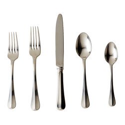 Bistro 5-Piece Flatware Place Setting - Arrestingly simple, the Bistro Five-Piece Setting creates casually European style on your table. This complete flatware place setting is made from stainless steel in a lush, silvery satin finish that draws the eye to the sweeping central ridge that makes these classic pieces so directional and bold. Let diners eat stylishly with these solid pieces.