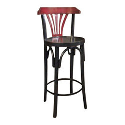 Authentic Models - Authentic Models Black & Red De Luxe Barstool - Timeless in style and sturdy in construction, The Authentic Models Black & Red De Luxe Barstool  is great to display in your home, bar or office. The design of our tall brasserie accessory dates  back to the late 19th century when bentwood furniture was developed in Vienna and exported across Europe and the rest of the world.                           * Dimensions: 40 x 14.8''