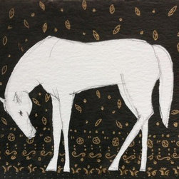 Grazing Horse (Original) by Heidi Lb Studio - This piece was inspired by the elegance and quietness of a grazing horse with a somber textile background.
