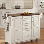 "Home Styles - Create-A-Cart Kitchen Cart - Home Styles Create-a-cart with a .75"" finished top features solid wood construction, and four cabinet doors that open to storage. Features: -Four-utility drawers.-Two cabinet doors open to storage with shelves inside.-Handy spice rack with towel bar, paper towel holder.-Heavy duty locking rubber casters for easy mobility and safety.-Create-A-Cart collection.-Product Type: Kitchen Cart.-Collection: Create-a-Cart.-Counter Finish: Oak wood.-Hardware Finish: Brushed Steel.-Distressed: No.-Powder Coated Finish: No.-Gloss Finish: No.-Base Material: Wood.-Counter Material: Oak Wood.-Hardware Material: Brushed steel.-Solid Wood Construction: Yes.-Number of Items Included: 1.-Water Resistant or Waterproof Cushions: No.-Stain Resistant: No.-Warp Resistant: No.-Exterior Shelves: No.-Drawers Included: Yes -Number of Drawers: 4.-Push Through Drawer: No..-Cabinets Included: Yes -Number of Cabinets : 2.-Double Sided Cabinet: No.-Adjustable Interior Shelves: Yes.-Number of Doors: 2.-Locking Doors: No.-Door Handle Design: Linear pulls..-Towel Rack: Yes -Removable Towel Rack: No..-Pot Rack: No.-Spice Rack: Yes .-Cutting Board: No.-Drop Leaf: No.-Drain Groove: No.-Trash Bin Compartment: No.-Stools Included: No.-Casters: Yes -Locking Casters: Yes.-Removable Casters: No..-Wine Rack: No.-Stemware Rack: No.-Cart Handles: No.-Finished Back: Yes.-Commercial Use: No.-Recycled Content: No.-Eco-Friendly: No.-Product Care: Clean with a damp cloth.Specifications: -ISTA 3A Certified: Yes.Dimensions: -Overall Height - Top to Bottom: 35.5"".-Overall Width - Side to Side: 48"".-Overall Depth - Front to Back: 17.75"".-Width Without Side Attachments: 44.5"".-Height Without Casters: 31.75"".-Countertop Thickness: 0.75"".-Countertop Width - Side to Side: 44.5"".-Countertop Depth - Front to Back: 17.75"".-Shelving: -Shelf Width - Side to Side: 12.5"".-Shelf Depth - Front to Back: 12.75""..-Leaf: No.-Drawer: -Drawer Interior Height - Top to Bottom (Small Drawers) : 3"".-Drawer Interior Height - Top to Bottom (Large Drawer) : 8.5"".-Drawer Interior Width - Side to Side: 10.25"".-Drawer Interior Depth - Front to Back: 11.5""..-Cabinet: -Cabinet Interior Height - Top to Bottom: 28.5"".-Cabinet Interior Width - Side to Side: 12.5"".-Cabinet Interior Depth - Front to Back: 12.75""..-Overall Product Weight: 134 lbs.Assembly: -Assembly Required: Yes.-Tools Needed: Phillips screwdriver.-Additional Parts Required: No.Warranty: -Product Warranty: Vendor replaces parts for 30 days."