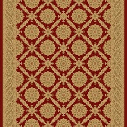 "Concord Global - Concord Global Imperial Aubusson Red 7'10"" Round Rug (1170) - Rugs in the Imperial Collection are reproductions of the antique carpets that were made in Turkey, Iran and France. Their mellow tones are suited for any color scheme."