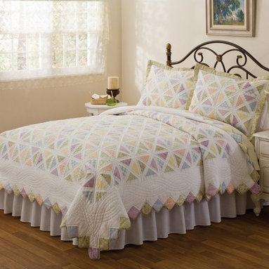 American Traditions - Summer Porch Quilt Multicolor - PQ0293SPK-2400 - Shop for Home Furnishings and Accents from Hayneedle.com! Traditional and bright there's no substitute for a beautiful quilt like the Summer Porch Quilt. With a gorgeous white microfiber shell and hand-pieced colorful panes it'll liven up the look of any bedroom.Dimensions:Standard sham: 20L x 26W in.Twin quilt: 86L x 68W in.Queen quilt: 86L x 86W in.King quilt: 90L x 100W in.About Pem AmericaMakers of high-quality handcrafted textiles Pem America Outlet specializes in bedding that enhances your comfort and emphasizes the importance of a good night's rest. Quilts comforters pillows and other items for the bedroom are made with care and craftsmanship by Pem America. Their products cover a wide range of materials styles colors and designs all made with long-lasting quality construction and soft long-wearing materials. Details like fine stitching embroidery and crochet decorations and reinforced seaming make Pem America bedding comfortable and just right for you and your family.