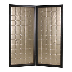 Screen Gems - Screen Gems Beau Monde Screen - 84 Inch - High design and chic fashion this screen evokes an era of time past. The panels are designed of quality fabric in a modish design with gold coloring in a square pattern accented with shell buttons. This 2-panel screen is finished on both sides.