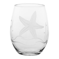 Rolf Glass - Starfish White Wine Tumbler, Clear, 15 Oz. - Our Starfish design offers a different seascape pattern on every shape. Seagrass, starfish, bubbles, a lone fish, giving each glass a distinctive charm.  Made in USA.