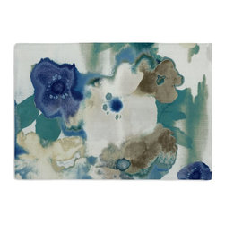 Blue & Aqua Watercolor Floral Custom Placemat Set - Is your table looking sad and lonely? Give it a boost with at set of Simple Placemats. Customizable in hundreds of fabrics, you're sure to find the perfect set for daily dining or that fancy shindig. We love it in this cobalt blue & aqua watercolor floral on white cotton. instant modern art, no frame needed.