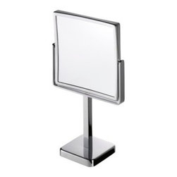 Geesa - Chrome Square 3x Magnifying Mirror - Contemporary style free standing square magnifying mirror with 3x magnification.