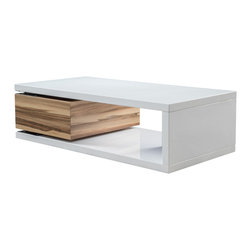 Great Deal Furniture - Cullen Rectangular Rotatable Mod Coffee Table - The Cullen Rectangular Mod Coffee Table is reminiscent to the late 60's era. This modern designed table features a rotating storage drawer that transforms an ordinary table to a functional piece. Far from traditional, the Cullen will sure to be a statement piece in your living room, bedroom or office.