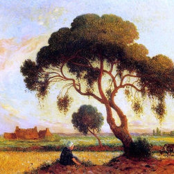 "Ferdinand Du Puigaudeau Breton Woman Seated Print - 18"" x 24"" Ferdinand Du Puigaudeau Breton Woman Seated under a Large Tree premium archival print reproduced to meet museum quality standards. Our museum quality archival prints are produced using high-precision print technology for a more accurate reproduction printed on high quality, heavyweight matte presentation paper with fade-resistant, archival inks. Our progressive business model allows us to offer works of art to you at the best wholesale pricing, significantly less than art gallery prices, affordable to all. This line of artwork is produced with extra white border space (if you choose to have it framed, for your framer to work with to frame properly or utilize a larger mat and/or frame).  We present a comprehensive collection of exceptional art reproductions byFerdinand Du Puigaudeau."