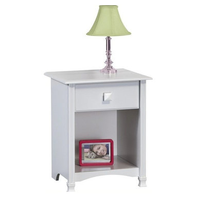 Ameriwood - Ameriwood Night Stand in White Stipple - Ameriwood - Nightstands - 5451015Y - Night Stand is finished in White Stipple its spacious drawer for clothes an accesories provide concealed storage for your bedroom.  It has attractive profiled edges and drawer front fluted moldings contoured side moldings and curved bottom apron.  It features interior finished drawers metal drawer slides decorative solid wood feet and white wood knob and clear crystal knob included.