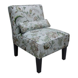 Skyline Furniture - Brissac Accent Chair in Platinum Floral - Pillow adds extra lumbar support for those with back trouble. Polyurethane foam fill. 55% Linen 45% Rayon upholstery. Made from premier solid wood. Made in USA. Assembly required. 32 in. W x 25 in. D x 33 in. H (32 lbs.)