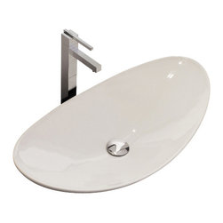 Scarabeo - Oval-Shaped White Ceramic Vessel Sink, No Hole - Contemporary above counter oval-shaped white ceramic sink. Stylish vessel sink without overflow. Made in Italy by Scarabeo.