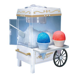 Nostalgia Products - Snow Cone Maker - Includes two reusable plastic cones. Built-in safety switch. Convenient countertop model. Child safe. Capacity: 2.7 gallons. Wattage: 35 W. Stainless shaving blade. Warranty: 90 daysThe Vintage Snow Cone Maker allows you to create refreshing snow cones at home anytime! Styled after the carnival carts of yesteryear, it uses ice cubes to make shaved ice. Then add your choice of flavored syrup and enjoy a cold, tasty treat that's fun for the whole family and a great relief from the summer sun. You can even make fruit slush drinks, yogurt snow and smoothies! Originally designed for kitchen use, this snow cone maker can also be used in a number of locations such as family and dorm rooms, offices and club houses.