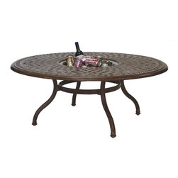 Darlee - Darlee Series 60 Cast Aluminum Round Tea Table with Ice Bucket Insert - 201060-Q - Shop for Tables from Hayneedle.com! There's no better way to enjoy an elegant tea party with friends than by replacing the tea with a cold beer; and while you're at it you might as well switch out the tea table for a Darlee Series 60 Cast Aluminum Round Tea Table with Ice Bucket Insert. Sometimes on a warm sunny day a cold drink is just what you and your guests want to have on hand and this clever table lets you bring out a few extras and keep them cold. That way you don't have to keep jumping up from the table to go fetch more drinks and you can actually spend your time enjoying your guests' company. But whether you're serving beer soda fresh-squeezed lemonade or even tea there's no reason you can't afford to be a bit fancy with it. This swirling-patterned top is complemented by elegantly curving legs for a lovely effect. And whether the ice bucket is being used or not the lip around it still provides lots of room for loungers to set their drinks down making this a fully functional table. When not in use the bucket can be covered up with a lid that perfectly matches the rest of the tabletop design for a solid complete look. And the high-quality cast aluminum gives this table a heavy-weight durability that is hand-finished with a multistep powder coating in the color of your choosing making this table resistant to almost any weather.About DarleeSince 1993 Darlee has developed a wide variety of products to help you create your ideal outdoor-living environment. Working with high-quality materials Darlee achieves a large spectrum of styles that covers a range of interests as well as aesthetic tastes. From classic to contemporary from conversation sets to dining sets to fire pits Darlee has you covered for outdoor entertaining. Because the company knows good business is built on trust and integrity Darlee focuses on reliable quality construction and remains committed to providing