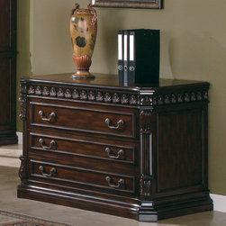 Coaster - Walnut Traditional File Cabinet - This large scale home office collection in a rich walnut finish features detailed carvings found throughout each poiece. Desk features felt-lined top drawers, keyboard drawer, and storage for your computer. Hutch features ball bearing glides, power strip, and task lighting.