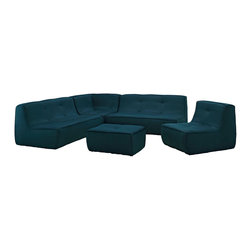 Modway - Modway EEI-1015 Align 5 Piece Upholstered Sectional Sofa Set in Azure - There are sectional sets that claim to be modern by portraying some enlightened path forward. But for every one of these efforts, is an equal and opposite reaction. The more we use our own guile to paddle forward, the more the stream of present reality seems to rush against us. Align was designed as an attempt to wash away those hindrances that obstruct growth. If there had been a choice, the designers would have kept Align just that. But while a sectional sofa set needs to be made curved, the intent was to stay true to the original concept. Align comes generously padded and upholstered in fine fabric, with slight button tufting and trim for only the gentlest effect.